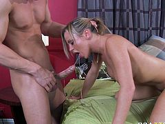 Sizzling light haired bitch with big tits Bree Olson gives her well hung stud amazing sloppy deepthroat blowjob. After messy deepthroating Bree gets her tight hairy coochie licked properly.