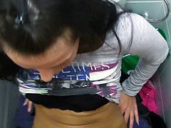 Kristyna is ready to please and satisfy any whim for money. So she has filthy quickie in a public toilet. She sucks his dick deepthroat before getting hammered deep in her cunt doggy style. The clips is filmed from POV.
