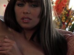 Capri Anderson with small tities and smooth muff going solo on camera