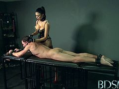 Mistress Jasmine ties up her slave and puts a gag in his mouth. Then, she spanks his ass cheeks as she gives him a handjob. After he turns around she treats him with a blowjob.