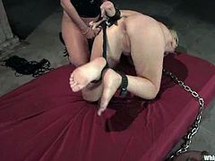 Sexy Anette gets tied up and tortured by Harmony. Later on she gets her vagina toyed and ass fingered.