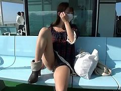 SexJapanTV brings you an amazing free porn video where yo can see how a cute and busty Japanese brunette masturbates in public while assuming very hot poses.