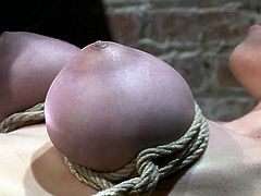Try making your girl do that too or even help her out with that severe breast bondage! She'd love it and her tits will get so purple!