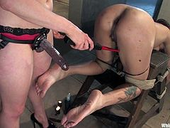 Sexy brunette babe gets fingered and tied up by nasty blonde mistress. After that Alicia her hot pussy pinched with clothespins and toyed deep.