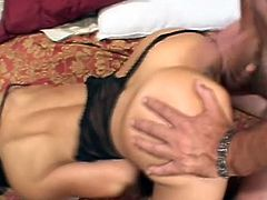 Brunette with natural tits gets hard cock i both her holes, she did not knew that because she is blind folded, she loves hard cock in every her hole.