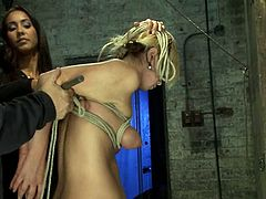 Blonde girl gets tied up by her master and a mistress. Then Tara sucks big dick. In addition she gets her tits tortured with ropes.