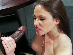 Young pretty brunette Sindee Jennings with soft milky skin and long hair in high heels and white summer dress has smile on face while black Tyler Knight is drilling her.