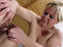 Chunky mom Klaudia plays with her girlfriend Majda and a lot of sex toys. Majda is a horny mom, just like Klaudie and the two are about to have a lot of fun in front of us. Brunette bends over like an obedient whore and allows the blonde to insert some anal balls in her pussy and then a big black strap on dildo!