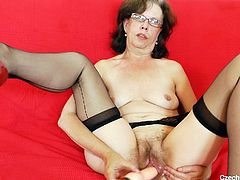 Madam Slavena is a filthy whore that still enjoys to spread her legs. This time she's all alone and wants to show us what's between her legs. Slavena makes herself comfortable in front of the camera, spreads her thighs and then, her pussy lips. Yeah, look at that hairy pussy and how she slides the dildo in it!