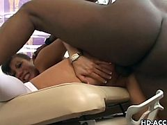 Asian pornstar Ava Devine is nothing, but a filthy cock-hungry nurse. She doesn't waste a second and enjoys hardcore drilling from behind by this big black schlong.