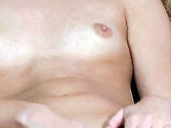 Jessie Rogers with small breasts and clean muff cant live a day without dildoing her fuck hole