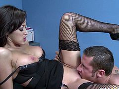 Sultry brunette in lingerie Breanne Benson gets banged by Danny Mountain