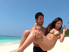 Tender Japanese porn babe Yui Nanase gets banged on the beach