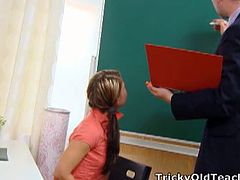 Anna is a struggling student and has been having problems in her class. She wants to have sex with her teacher for a better grade and he says yes. He removes her top and enjoys her young breasts. After her breasts, he spreads her legs and licks out her young pussy. He enjoys her pussy and she then goes to her knees to give him a blowjob. Getting him hard, she spreads her legs and he fucks her young pussy hard and deep. He enjoys every bit of her body and she will pass the class. He cums down her throat and enjoys her body