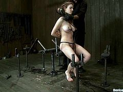 Nothing can be helpful for Iona, when she gets trapped in the bondage device like that. Moreover, babe gets her pussy lips and nipples twitched!