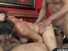 Enjoy this hot sexy brunette babe Holly West in this hot threesome video, where you will see her getting her tight pussy and her butt hole rammed hard by these two big cocks.