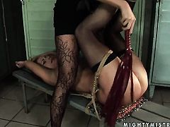 Brunette Mandy Bright with massive hooters and Katy Parker strips and then caress each other