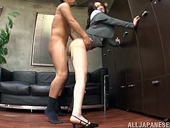 Office worker Sae Aihara sucks her boss's cock, before the big meeting. He pushes her head down, onto his cock and makes her deepthroat him. She holds her legs open and gets fucked hard on the couch. Next, she gets up and leans against the wall, and gets fucked from behind.