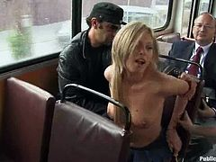 She gets naked and starts making it out in the park first. Then she takes a bus and sucks the other cock in it. Oh, man what a hot public porn!