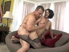 Dark haired milf Roxanne Hall in black nylon stockings gets her asshole licked and her pussy fucked from behind. Watch Roxanne Hall get heavily banged by horny as hell guy. She takes his meat pole with desire.