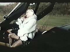 Seductive blonde hoochie is ready to please you right here and right now. Just enjoy watching her insatiable pussy while she spreads her legs in the car.