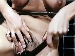 Black haired milfie takes big dick up her wet hairy snatch doggystyle. Whore rides that shaft in reverse cowgirl pose and later washes her sweaty snatch in bathroom.