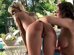 Courtney Simpson and Savanna James fuck in a veranda