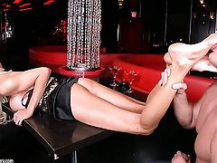 Blonde Puma Swede with juicy breasts gets her mouth attacked by guys beefy erect schlong