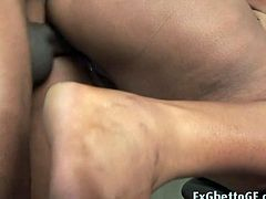 This chubby ebony babe is at the gym, trying to lose some weight. Her personal trainer has something else in mind. He gives her a complete workout in her holes.
