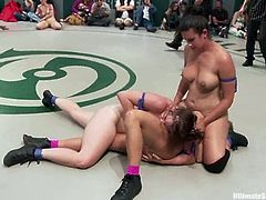 Two girls in blue bikini fight against two chicks in pink bikini. The pink team loses a fight, so they lick pussies and get fingered.