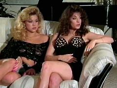 Two stunning retro girls with big tits give blowjob to one guy and get fucked doggystyle. Bitches lick each other's wet hairy quims and cum multiple times.