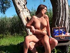 Superb Debbie White sucks and fucks big dick outdoors
