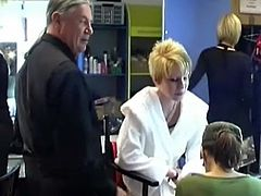 Good backstage scene with awesome short-haired blonde