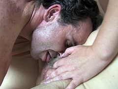 Horny dude discovers the taste of mature sex with old women. Insatiable sluts suck his dick with great enthusiasm. Then he fucks one of them missionary style.