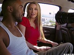 Pretty Courtney Cummz with long black nails and awesome body in jeans and red t-shirt has fun with muscled stud and starts playing with his black stiff sausage in car.