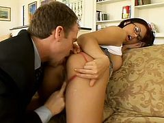 Eva Angelina sucks a fat cock and gets her smooth pussy smashed
