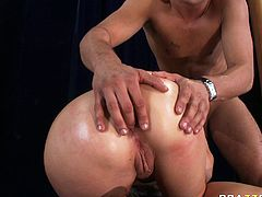 Candy Manson proudly exposes her giant booty and her king sized hooters. Danny finger fucks her tight dirty asshole while Candy sucks his massive dick.