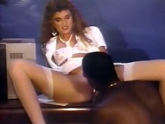 Smoking hot white beauty spreads her legs wide open and gets her hairy snatch eaten by black dude. Babe sucks that BBC and rides it in cowgirl pose.