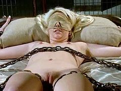 Pretty brunette dominatrix Bobbi Starr is getting naughty with Courtney Taylor in a basement. Bobbi restrains and tortures Courtney and then rubs and fucks her coochie with toys.