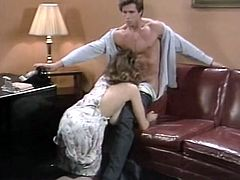 Hot busty secretary Christy Canyon gets fucked in FFM threesome - vintage