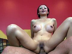Impressive asian slut gets ravaged down her tight vag during top hardcore