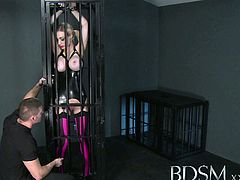 Big breasted blonde gets a hardcore lesson inside and outside of her cage.Watch how this horny Master Rose shoves his big cock in hr mouth through the cage's bar.then he let her come outside the cage for more hot blowjob and ass spanking.Enjoy this sexy babe and her Master!
