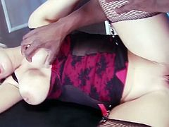 Two horny sluts with an appetite for big black cock. Watch and enjoy how these two girls take on this massive monster and get all their holes stretched to the max!