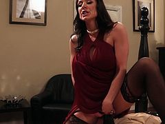This gorgeous brunette in sexy black stockings is as flexible as a gymnast, that's unbelievable. She spreads her sexy legs wide to let her lover fuck her pretty fanny with her favorite sex toys. Horny dude fucks her fascinating hole nice and slow just the way she likes it.