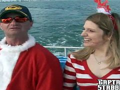Come on out for a hardcore Christmas Boat trip! She takes Captain Stabbin's whole cock right down her throat then right up her beautiful ass!