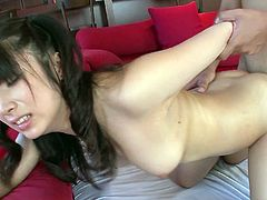 Japanese hussy with fine booty Hinata Tachibana jiggles her big ass while riding her lover like a cowgirl. Asian babe gets banged in mish and doggy poses before taking creampie.