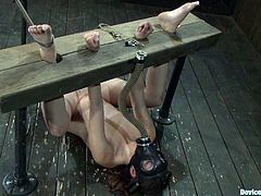 Pretty brown-haired girl Allie Haze lets some dude chain her into a pillory in a basement. The man plays with Allie's amazing tits and then smashes her coochie with a fucking machine.