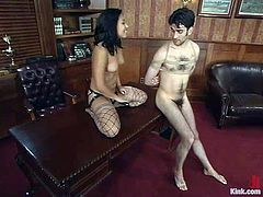 Jasmine Byrne is having fun with Nathaniel Meadowlark in the study. She beats and humiliates the dude and then fucks his ass with a strapon from behind.