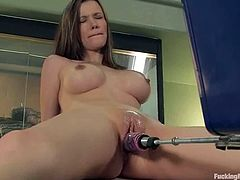 Nasty dark-haired girl Raven Alexis is having fun in her room. She fondles herself fervently and then gets her vag drilled by a fucking machine.