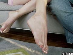 See the amazing brunette slut Allison Moore flaunting her hot tits while riding her man's dong into kingdom come while assuming very sexy poses. She discovers a new pleasure as her feet get licked during a hot fucking session.
